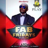 FabFridays hostedBy DJ APEMAN live at clubPlay Uganda 29thJan2016