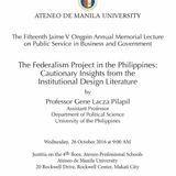 The Federalism Project in the Philippines