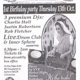 Drum Club live at Herbal Tea Party (Manchester) 1st birthday on 13 October 1994 and DJ Rob Fletcher