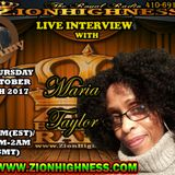 MARIA TAYLOR LIVE INTERVIEW WITH DJ JAMMY ON ZIONHIGHNESS RADIO 100517