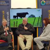 Wales' First Minister, Mark Drakeford and Lesley Griffiths AM talks to Tony Jones at Anglesey Show
