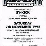 Dj Richie @ The Prodigy Experience 7th November 1992  ''Gt Yarmouth''