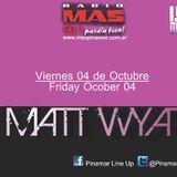 Matt Wyat mixing a full up!!  MAIN Stage at Pinamar Line Up!! ENJOY Friday 10/05/2013
