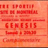Genesis Montreal Universite' Centre Sportif April 20th 1974 SEBTP Black Show