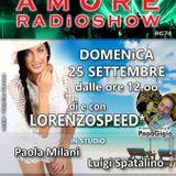 LORENZOSPEED presents AMORE Radio Show 674 Domenica 25 Settembre 2016 PAOLA MiLANi e LUiGi SPATALiNO