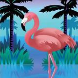 Pink Flamingoes and Palmtrees
