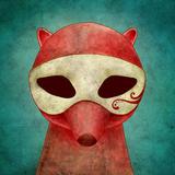Maskierte Füchse auf Kopfhörerpflasterstraßen