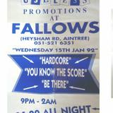 DJ Chris Butler - Fallows night club 91-92 - Hardcore You Know the Score !