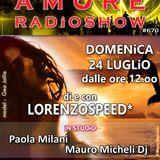 LORENZOSPEED presents AMORE Radio Show 670 Domenica 24 Luglio 2016 with PAOLA MiLANi MAURO MiCHELiDJ