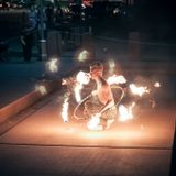 Spinning lights on a moonlit night.  10-8-14 HOI Hoopers Meetup