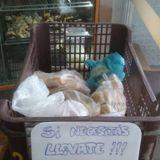 """""""SI NECESITÁS LLEVATE"""" dice un cartel en una panadería de San Lorenzo donde regalan pan a la gente"""