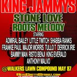 KING JAMMYS LS STONE LOVE LS ROOTS MELODY@WALKERS LAWN COMPOUND.MAY 87