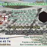 Taller de Construcción Alternativa, 27, 28 y 29 de mayo 2015 en Centro Cultural Santa Cruz