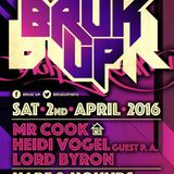 Bruk Up 2nd April Mr Cook & Lord Byron with Heidi Vogel (Vocals)