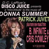 "The DISCO JUICE mini-tribute to the forthcoming musical ""DONNA SUMMER"" plus more disco!     1/13/18"
