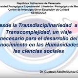 Conferencia:  Desde la Transdisciplinariedad a la complejidad.
