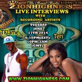 INTERNATIONAL RECORDING ARTIST TERI LIVE INTERVIEW WITH DJ JAMMY ON ZIONHIGHNESS RADIO 06-17-2014