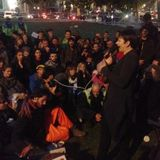Green Party members Caroline Lucas and Jenny Jones speaking at Occupy Democracy 23.10.14