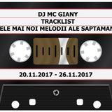 204 - DJ MC GIANY - TRACKLIST - CELE MAI NOI MELODII ALE SAPTAMANII (20.11.2017 - 26.11.2017)