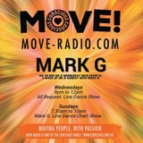 Its Sunday Morning and the teach off the week chart show with Mark G on Move radio