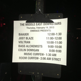 LIVE AT THE MIDDLE EAST - 2/14/2013