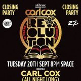 Carl Cox, Last Ever Set At Space, Music Is Revolution Closing Party, Space, Ibiza 20-09-2016