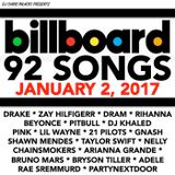 BILLBOARD TOP 92 SONGS (2 hrs clean 1/2/17)