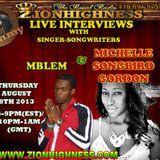 MICHELLE 'SONGBIRD' GORDON'S LIVE INTERVIEW WITH DJ JAMMY ON ZIONHIGHNESS RADIO 08-08-13