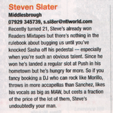 IDJ Magazine 'Readers Mixes' DJ Competition, featured Runner-up entry, April 2002