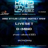 D-Mind  - Hard Styles Loverz Monthly Show - Hardstyle.nu - Saturday 06 September 2014