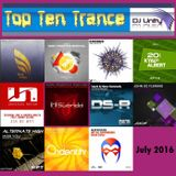 Top Ten Trance July 2016