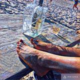 barfoot on the beach