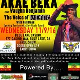 Akae Beka | Blue Lake Casino | Blue Lake, California | November 9, 2016