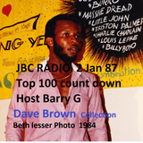JBC radio Jamaica 1986  top 100  count down  2 Jan 1987 Host Barry G  ( D Brown Collection)