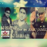 A live interview of a senior actor RAJU JAMIl with RJ HAMAAD and RJ Shayan at AIMFM´s Studio ISLD