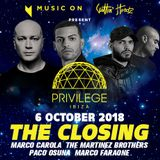 Paco Osuna - Live at Privilege x Music On Closing Party (Ibiza) - 06-Oct-2018