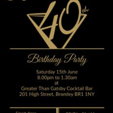 KARLENE 40TH BIRTHDAY PARTY @GATSBY COCKTAIL BAR 15TH JUNE 2019FT D-MAC & BROWNIE ROCKERS