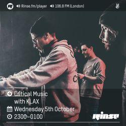 Critical Sound No.36 | Rinse FM | KLAX | 05.10.16