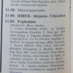 Pophullám. Szerkesztő: Buza Sándor. 1988.12.09. Petőfi rádió. 13.05-13.45.