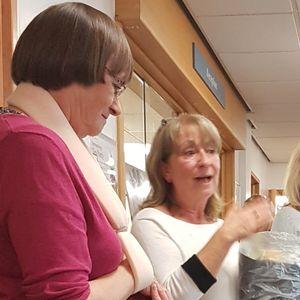 Clatterbridge dermatology staff Dr. Sue Welsh & Sister Sue James receive their leaving awards