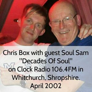 """Chris Box with guest Soul Sam in 2002, """"Decades of Soul"""" on Clock Radio 106.4FM in Shropshire"""
