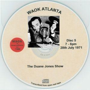 WAOK 1380 Atlanta GA =>> Classic Soul Music with Duane Jones <<= Wed. 28th July 1971 19.00-20.00 hrs