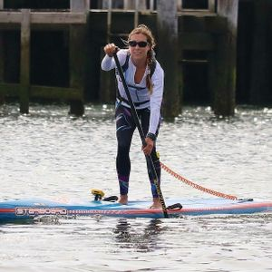 Paddle board racer Stephanie Shideler; tricked by Jersey