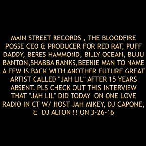 """Jah Lil"" radio interview on One Love Radio in CT W/ Host Jah Mikey, dj Capone, &  Dj on 3-26-16"