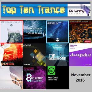 Top Ten Trance November 2016
