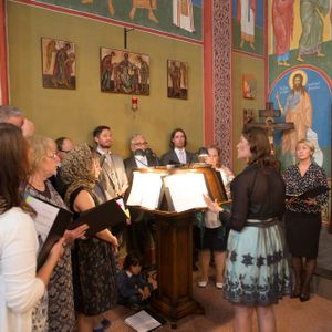 Liturgy in the orthodox church in Ghent. Choir of the Helsinki orthodox parish of the Holy Trinity