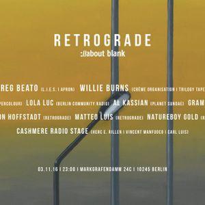 Herc E. Rillen live: Cashmere X Retrograde @ about:blank Berlin 3.11.2016