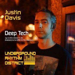 Deep Tech mix by Justin Davis, WPRK 91.5 FM, Orlando, FL, Underground Rhythm District, 13JUL13
