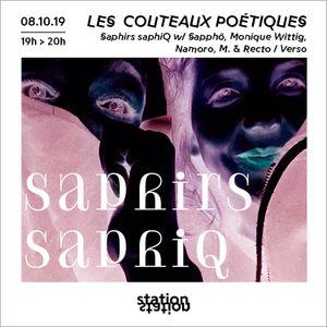 Les Couteaux Poétiques #9 w/ Namoro, Sapphô & Monique Wittig, M. & Recto/Verso