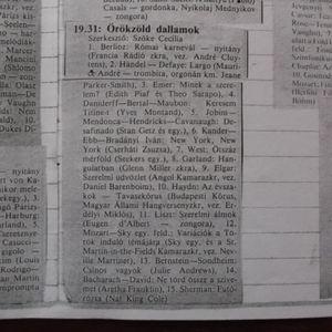 Örökzöld dallamok. Szerkesztő: Szőke Cecília. 1988.12.11. Kossuth rádió. 19.31-20.35.